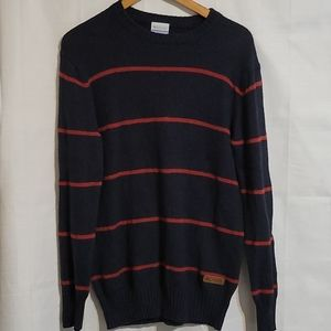 Columbia red striped sweater, men's small